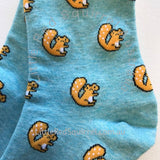 Squirrel socks with small motif and light blue background - ladies