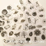 Black and white woodlands sticker set (45 pieces)