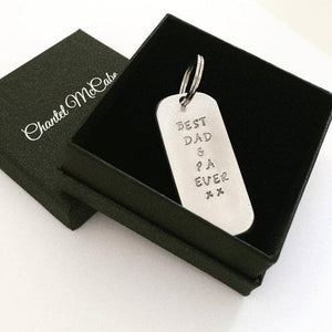 Aluminium stamped personalised 20mm wide and 5cm long handcrafted keyring. Perth, Western Australia