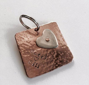 Personalised copper 7th anniversary square keyring with Argentium sterling silver heart