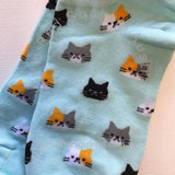 Light blue cat ankle socks - ladies