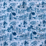 Blue characters (two yards/182cm) - cotton lycra