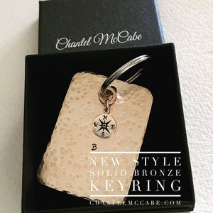 XL Personalised bronze 8th anniversary square keyring with bronze compass charm