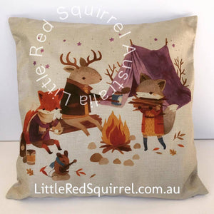 Cushion cover: woodlands friends camping, fox theme (1 piece)