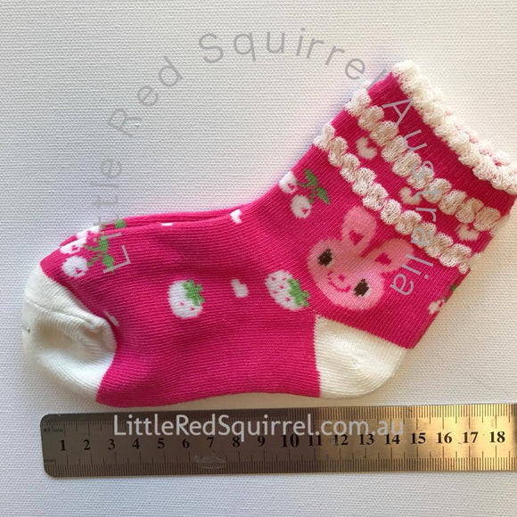 Hot pink bunny socks - kids size S or M