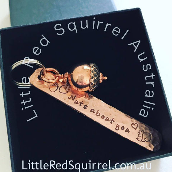 Personalised copper 7th anniversary narrow keyring tag