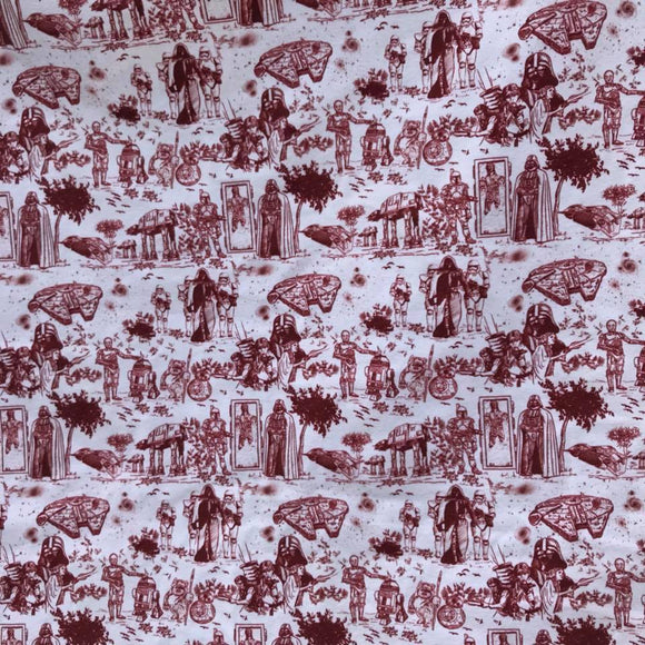 Red characters (one yard/91cm) - cotton lycra
