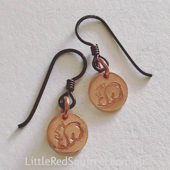 Handstamped copper squirrel earrings with hypoallergenic niobium earwires