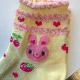 Yellow bunny socks - kids size S or M (1 pair)