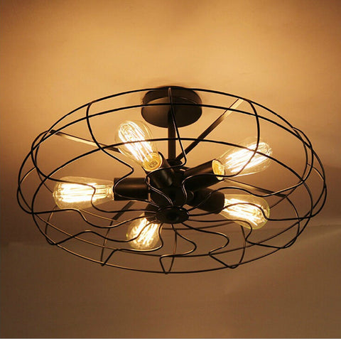 OuXinDiLong - Vintage American Country Industrial Fan - 120V E27