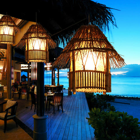 WINZSC - Bamboo Rattan Outdoor Pendant lights - 120V E27