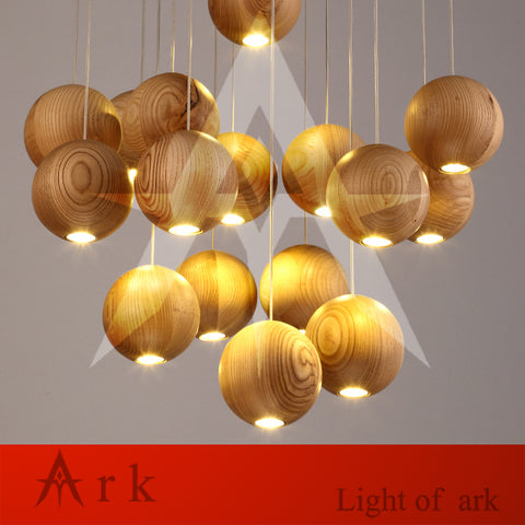 ARK LIGHT - Art Deco Retro Wood Ball Pendant - 120V LED