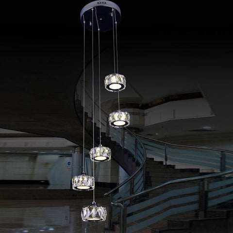 LUKLOY - Modern Crystal Staircase Chandelier - 120V LED