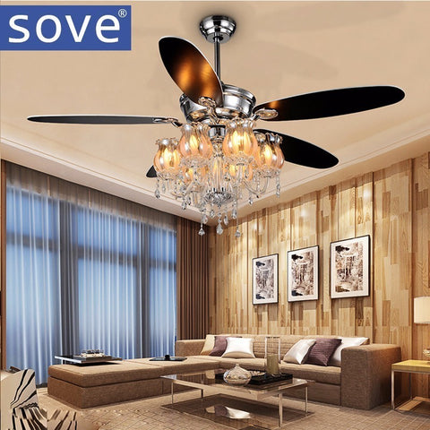 "SOVE - 56"" Modern Crystal Chandelier Fan - 120V E14 LED"