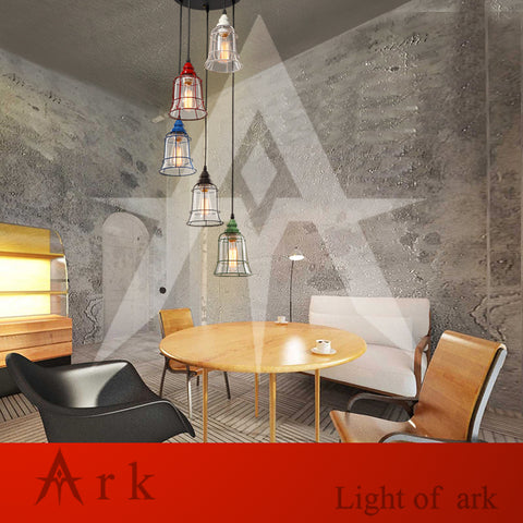 ARK LIGHT - Modern 5 iron Glass Bell Pendant - 120V E27