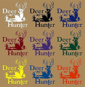 "Deer Hunter Gun Bow Mountain Car Truck Window Laptop Vinyl Decal Sticker - 10"" Long Edge"