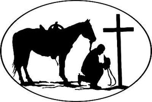 Christian Praying Cowboy Rodeo Car Truck Window Wall Laptop Vinyl Decal Sticker - 12""
