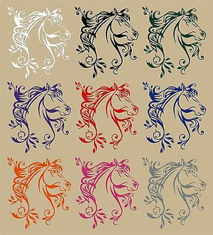 "Horse Flowers Tribal Rodeo Cowgirl Western Car Truck Window Vinyl Decal Sticker - 11"" Long Edge"