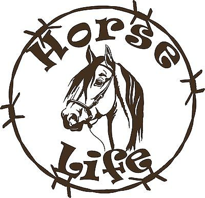 "Horse Life Barb Wire Animal Farm Car Truck Trailer Window Vinyl Decal Sticker - 10"" Long Edge"