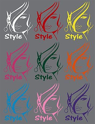 "Hair Cut Style Beauty Shop Salon Car Truck Window Laptop Vinyl Decal Sticker - 7"" long edge"