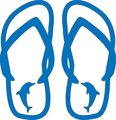 "Dolphin Flip Flops Fish Ocean Sea Car truck Window Wall Vinyl Decal Sticker - 11"" Long Edge"