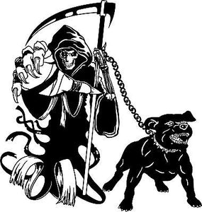 "Grim Reaper Dog Chain Scythe Zombie Monster Window Laptop Vinyl Decal Sticker - 14"" Long Edge"