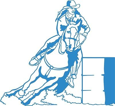 "Cowgirl Barrel Race Horse Rodeo Car Truck Window Laptop Vinyl Decal Sticker - 8"" long edge"