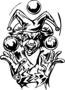Clown Juggling Balls Jester Joker Car Truck Window Laptop Vinyl Decal Sticker - 12""