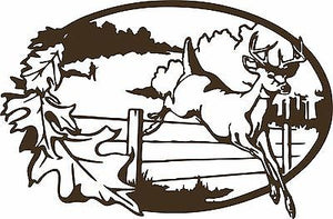 "Deer Buck Hunter Hunting Field Fence Window Laptop Vinyl Decal Sticker - 14"" Long Edge"