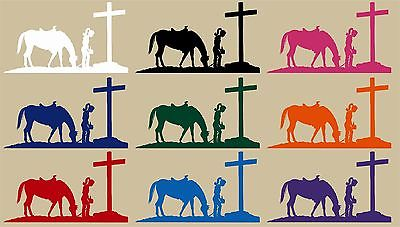 "Cowgirl Horse Praying Cross Western Rodeo Car Truck Window Vinyl Decal Sticker - 9"" long edge"