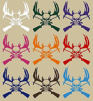 "Deer Reaper Skull Gun Hunting Car Truck Window Wall Laptop Vinyl Decal Sticker - 11"" Long Edge"