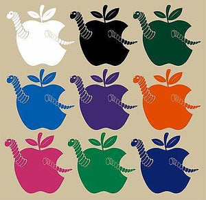 "Apple Fruit Food Worm Car Truck Window Laptop Vinyl Decal Sticker - 12"" Long Edge"