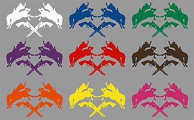 "Cowboy Bronco Horse Rodeo Guns Car Truck Window Laptop Vinyl Decal Sticker - 13"" Long Edge"
