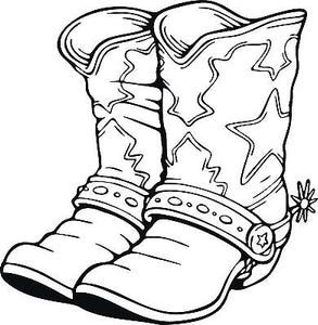 "Cowboy Cowgirl Boots Western Rodeo Car Truck Window Vinyl Decal Sticker - 7"" Long Edge"