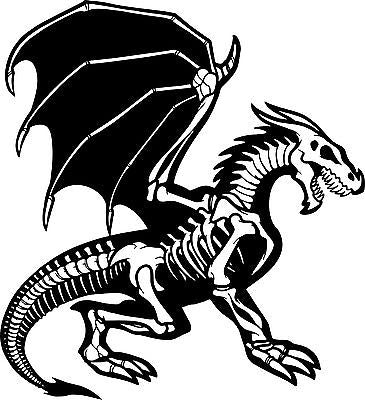"Dragon Skeleton Creature Monster Car Truck Window Laptop Vinyl Decal Sticker - 7"" long edge"