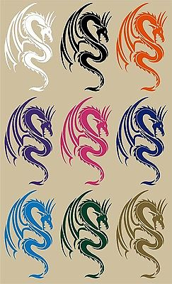 "Dragon Mythical Creature Fantasy Tribal Car Truck Window Vinyl Decal Sticker - 9"" Long Edge"