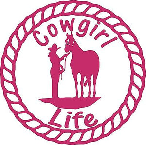"Cowgirl Life Horse Rope Rodeo Farm Car Truck Trailer Window Vinyl Decal Sticker - 8"" Long Edge"