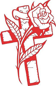 "Cross Rose Flower Christian Car Truck Window Laptop Sign Vinyl Decal Sticker - 9"" Long Edge"