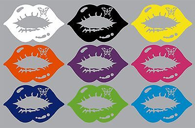 "Butterfly Kiss Sexy Lips Mouth Car Truck Window Vinyl Decal Sticker - 9"" Long Edge"