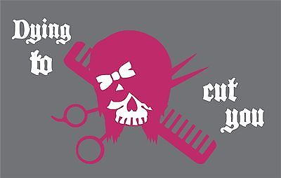 "Hair Dye Skull Stylist Beauty Salon Car Truck Window 2 Color Vinyl Decal Sticker - 9"" Long Edge"