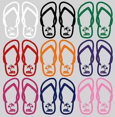 "Flip Flops Sun Palm Trees Sandals Car Truck Window Vinyl Decal Sticker - 10"" Long Edge"