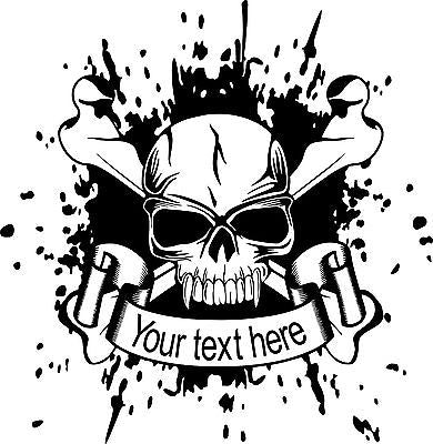 "Custom Skull Crossbones Name Text Car Truck Window Laptop Vinyl Decal Sticker - 13"" long edge"