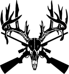 "Deer Skull Gun Rifle Hunting Buck Car Truck Window Laptop Vinyl Decal Sticker - 15"""" Long Edge"