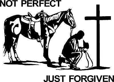 Christian Cowboy Praying Horse Cross Car Truck Window Laptop Vinyl Decal Sticker - 10""