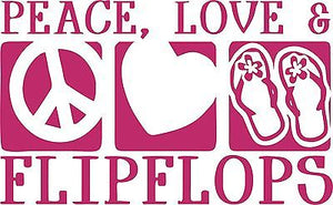 Flip Flop Peace Sign love Heart Car Truck Window Wall Laptop Vinyl Decal Sticker - 8""