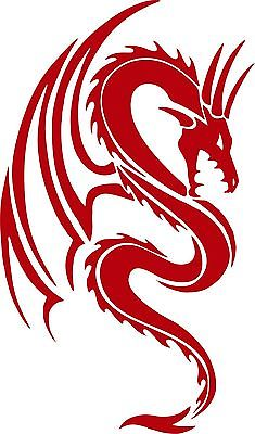 "Dragon Mythical Creature Fantasy Tribal Car Truck Window Vinyl Decal Sticker - 14"" Long Edge"