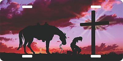 Christian Cowboy Praying Cross Horse Sunset Rodeo License Plate Car Truck Tag