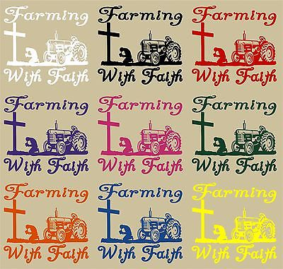 "Farm Faith Christian Cross Praying Tractor Car Truck Window Vinyl Decal Sticker - 11"" Long Edge"
