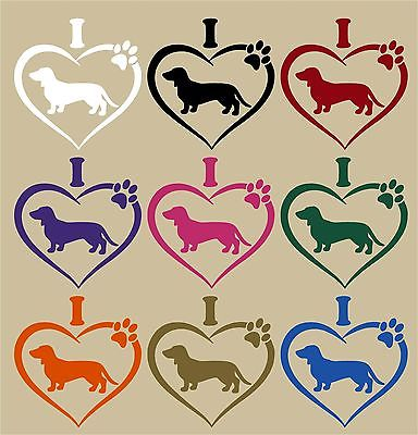 "Dachshund Pet Animal Wiener-Dog Heart Paw Car Truck Window Vinyl Decal Sticker - 7"" Long Edge"