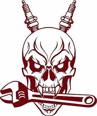 "Auto Mechanic Skull Spark Plug Wrench Tools Garage Shop Vinyl Decal Sticker - 11"" Long Edge"